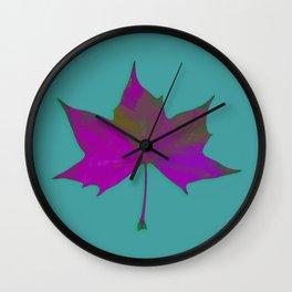 Bold Purple Leaf On Teal Green. Wall Clock