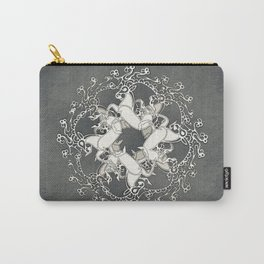 Celtic or Viking Deer Pattern - Siver Grey White Carry-All Pouch