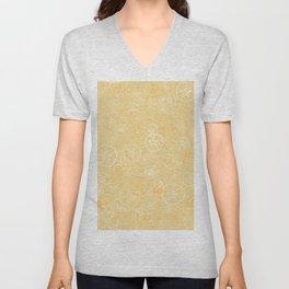 Golden sand dollar pattern Unisex V-Neck