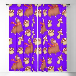 Cute happy llamas with red warm scarves and funny whimsical mushrooms seamless pattern design Blackout Curtain