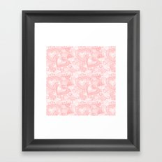 Pink hearts and flowers doodle pattern Framed Art Print