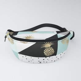 Pastel color block watercolor dots faux gold pineapple Fanny Pack