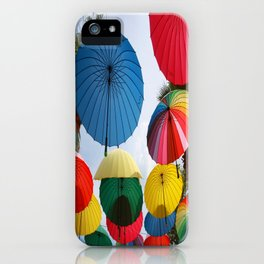 A Shower of Rainbow Coloured Umbrellas iPhone Case