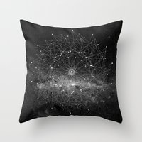 cosmos Throw Pillows featuring STARGAZING IS LIKE TIME TRAVEL by Amanda Mocci