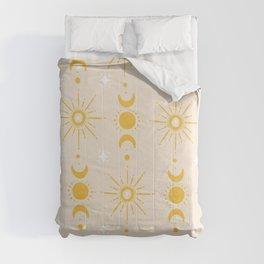 Yellow Sun & Moon Pattern Comforters