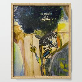 Painting and Newspaper Collage of Angela Davis on the cover of TIME Magazine Serving Tray
