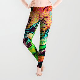 Alligator Wrestling With Cat Painting Leggings