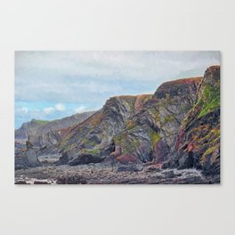 Hartland Quay Cliffs Canvas Print