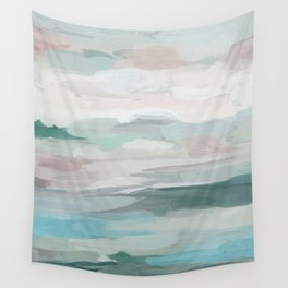 Sage Green Sky Blue Blush Pink Abstract Nature Sky Wall Art, Water Land Painting Print Wall Tapestry