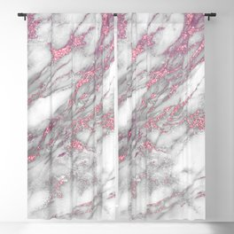 Gray & pink glitter faux messy marble texture Blackout Curtain