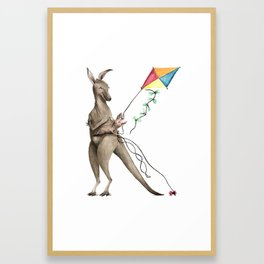 K is for Kangaroos flying Kites - Laugh-A-Bit Alphabet Watercolor ABC Nursery Decor Framed Art Print