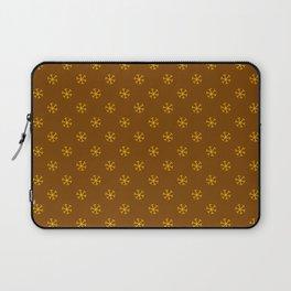 Amber Orange on Chocolate Brown Snowflakes Laptop Sleeve