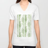 green pattern V-neck T-shirts featuring Herringbone Green Nature Pattern by Maioriz Home