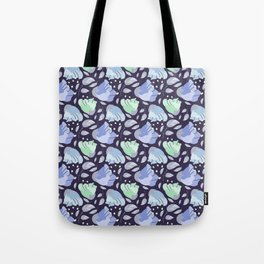 Modern abstract mint pastel purple floral illustration Tote Bag