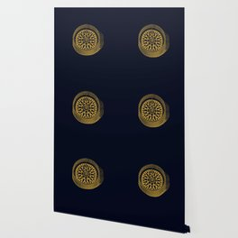 The golden compass I- maritime print with gold ornament Wallpaper