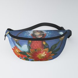 Funny cute parrot with flowers Fanny Pack