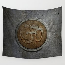 The sound of the Universe. Gold Ohm Sign On Stone Wall Tapestry