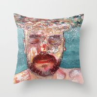 watercolour Throw Pillows featuring Watercolour by Jose Manuel Hortelano-Pi