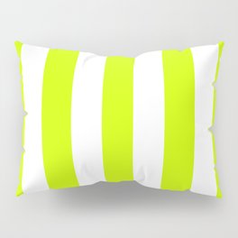 Fluorescent yellow - solid color - white vertical lines pattern Pillow Sham