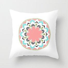 Mandala: White and Pink Throw Pillow