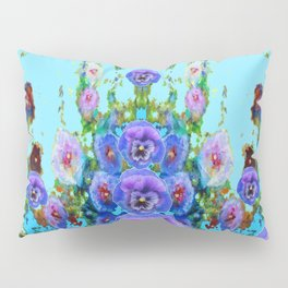 MODERN BLUE WESTERN GARDEN  PURPLE PANSY FLOWERS Pillow Sham
