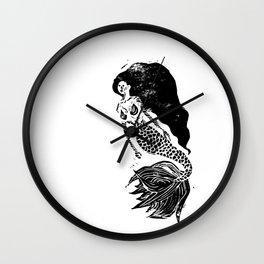 Mermaid Linocut Wall Clock