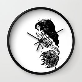 Mermaid Linocut Wall Clock