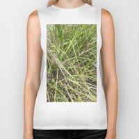 grass Biker Tanks featuring GRASS by JANUARY FROST