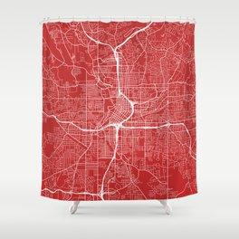 Atlanta Map, USA - Red Shower Curtain