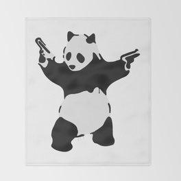 Banksy Pandamonium Armed Panda Artwork, Pandemonium Street Art, Design For Posters, Prints, Tshirts Throw Blanket
