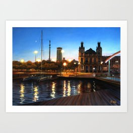 Sunset and citylights in the port of Barcelona Art Print