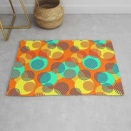 Geometric Orange Circles Rug