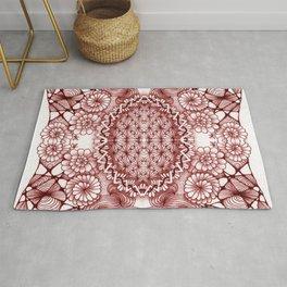 Burgundy Zentangle Tile Doodle Design Rug