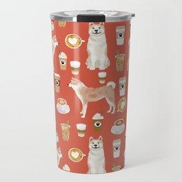 Akita coffee pattern akitas dog breed pet portrait by pet friendly Travel Mug