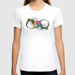 Infinity Symbol with Rainbow Rose T-shirt