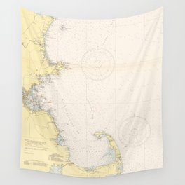 Vintage Map of The New England Coastline (1942) Wall Tapestry