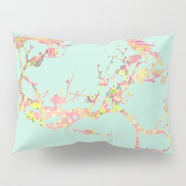 Love Birds on Branch Vintage Floral Shabby Chic Pink Yellow Mint Pillow Sham