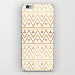 White & Gold Chevron Pattern iPhone Skin