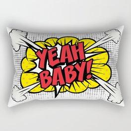 """""""Yeah Baby!"""" Pop Art comics icon as a Speech Bubble. Rectangular Pillow"""