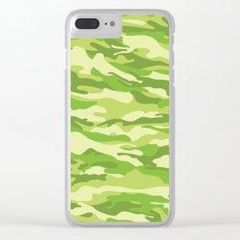 Green Kelp Camo Pattern Clear iPhone Case