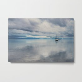 boat reflections in the water print ...  Metal Print