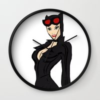 catwoman Wall Clocks featuring CATWOMAN by Queenmissy