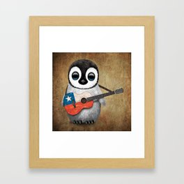 Baby Penguin Playing Chilean Flag Acoustic Guitar Framed Art Print