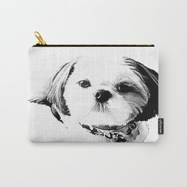 Shih Tzu In Black And White By Annie Zeno Carry-All Pouch