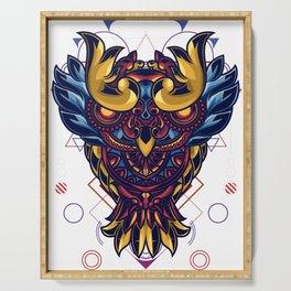 Owl Mandala Sacred Geometry Ornamental Serving Tray