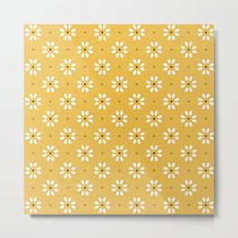 Daisy stitch - yellow Metal Print