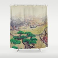asian Shower Curtains featuring Asian Landscape by Fuselage Fashion