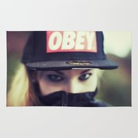 obey Area & Throw Rugs featuring OBEY by neutral density