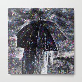 A Hard Rain Is Gonna Fall (Man with Umbrella) Colorful Rain portrait painting Metal Print