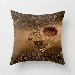 Steampunk Nature Throw Pillow